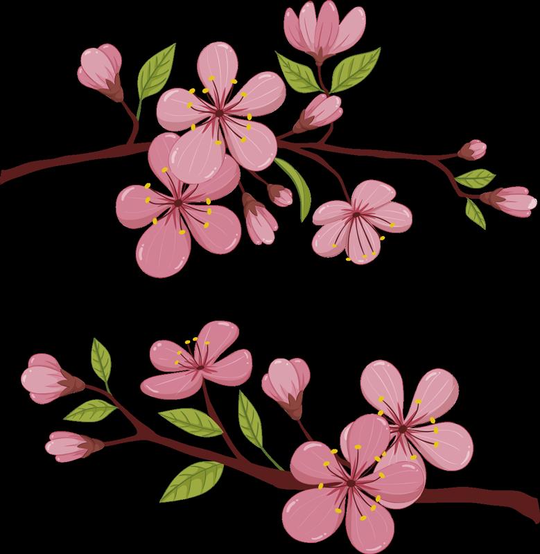 TenStickers. Blühende frühlingsblume wandtattoo. Dekorative und einfach anzubringende wandtattoo einer blühenden frühlingsblume von diesem ast in buntem stil, um die wandoberfläche im haus zu verschönern.
