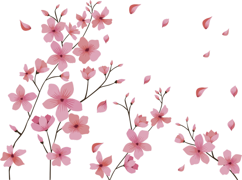 TenStickers. Blosson spring flower flower wall decor. Easy to apply flower wall decal for bedroom created of blossoming spring flower in pinks and a touch of other colour to decorate bedroom wall surface.