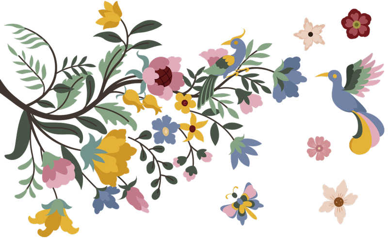 TenStickers. Bright spring flower floral wall decal. Easy to apply flower wall art sticker of spring flower with pretty floral in different colours with butterflies and bird on the surface.