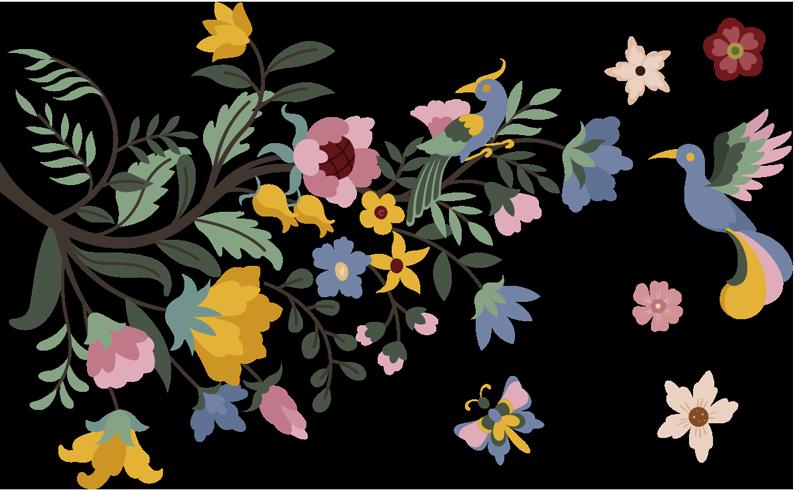 TenStickers. 明媚春天的花朵花墙贴花. 容易应用春天的花朵花墙艺术贴纸,上面有漂亮的花,以不同的颜色与蝴蝶和鸟的表面。