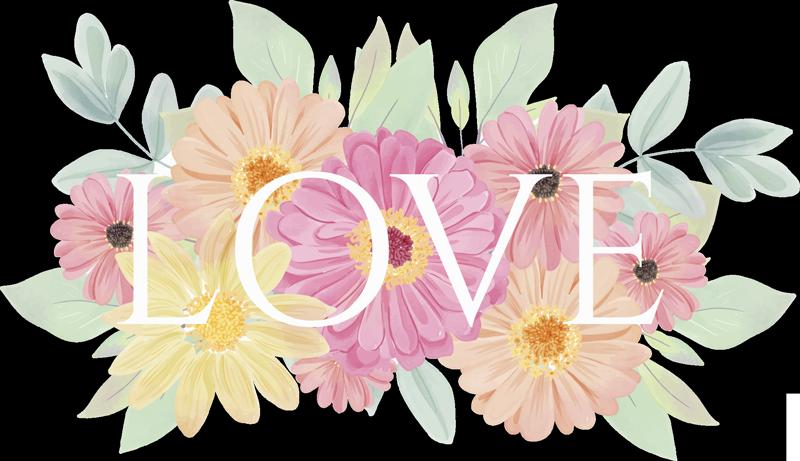TENSTICKERS. 装飾的な春の花愛壁デカール. あなたが愛するささいな色のテキスト「愛」と花の装飾的な壁のステッカーを簡単に適用します。任意のサイズで使用できます。