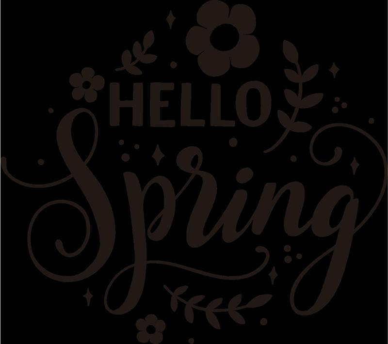 """TenStickers. Zdravo spomladanska cvetna stena nalepka. Dekorativni domači stenski nalepki spomladanskega cvetja z besedilom """"zdravo pomlad"""" """"lahko ga imate v kateri koli barvi in po želji."""