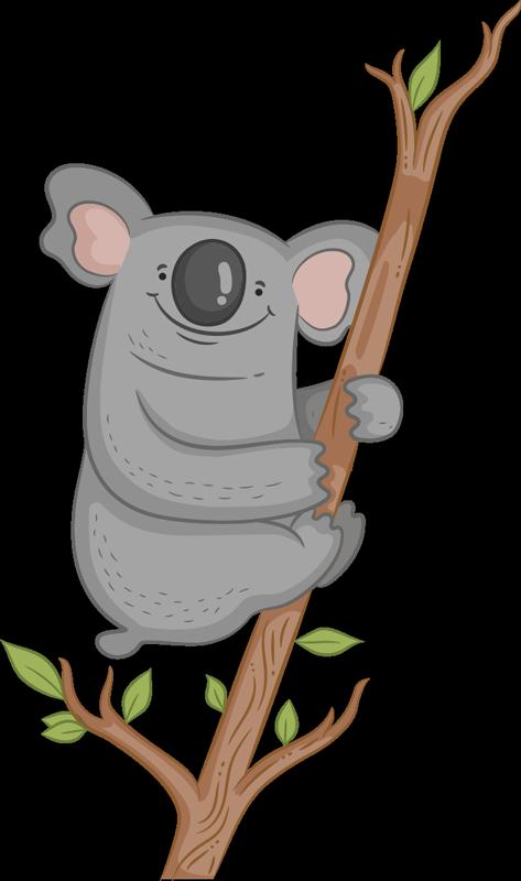 TenStickers. Art mural illustration de branche de koala. decoration murale pour chambre d'enfants d'un animal de koala facile à appliquer sur une branche d'arbre avec ce congé que vous aimerez et l'enfant l'admirera.