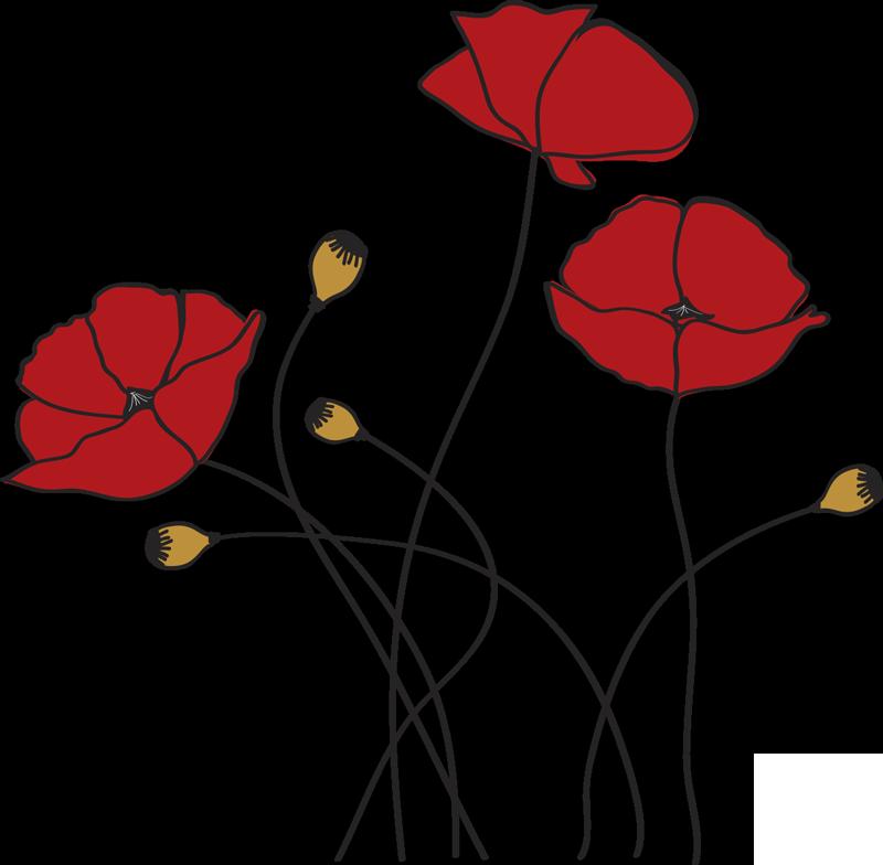 TenStickers. sticker  fiore papavero. Acquista il nostro adesivo da parete con fiori adesivi facile da applicare di un fiore primaverile che adorerai sulla superficie del tuo muro.