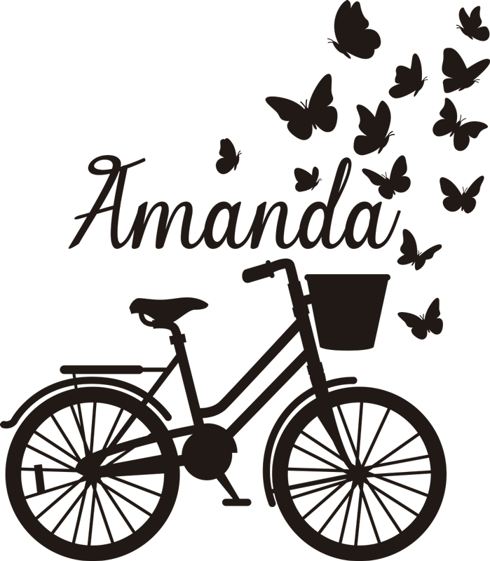 TenVinilo. Vinilo infantil de bicicleta personalizable. Vinilo pared con nombre personalizable para habitación de niños con una bicicleta de primavera. Diseño creado con una bicicleta con mariposas bonitas.