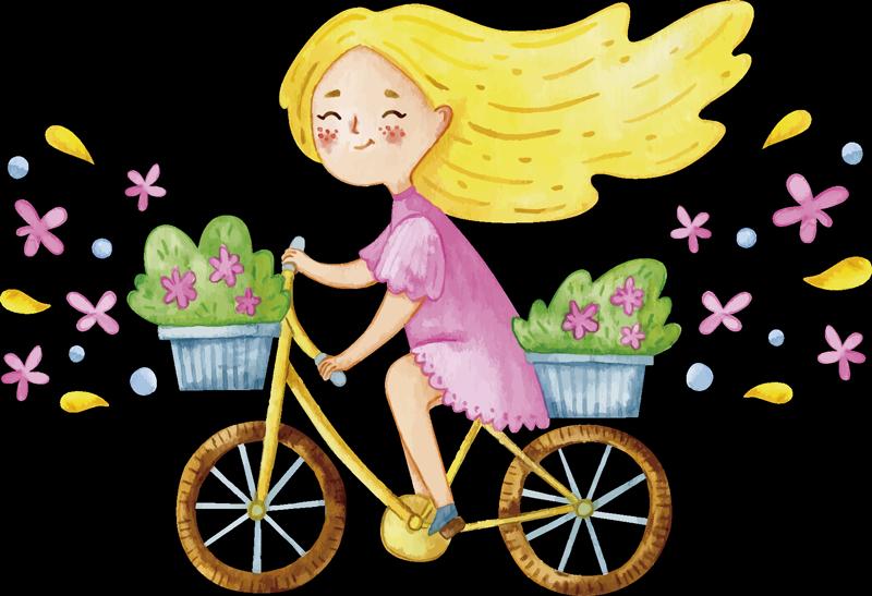 TenStickers. Frühlingsblume fahrrad illustration wandtattoo. Einfach anzubringende illustrative kinderwandtattoo, erstellt mit einem hübschen frühlingsblumenrad mit einem kleinen mädchen, das darauf reitet.
