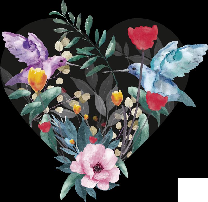 TenStickers. Zelfklevende muursticker bloemenvogel. Zelfklevende muursticker met lente-bloemen gemaakt op een hartvorm met vogels in prachtige kleuren die het wandoppervlak van de woonkamer zullen verfraaien.