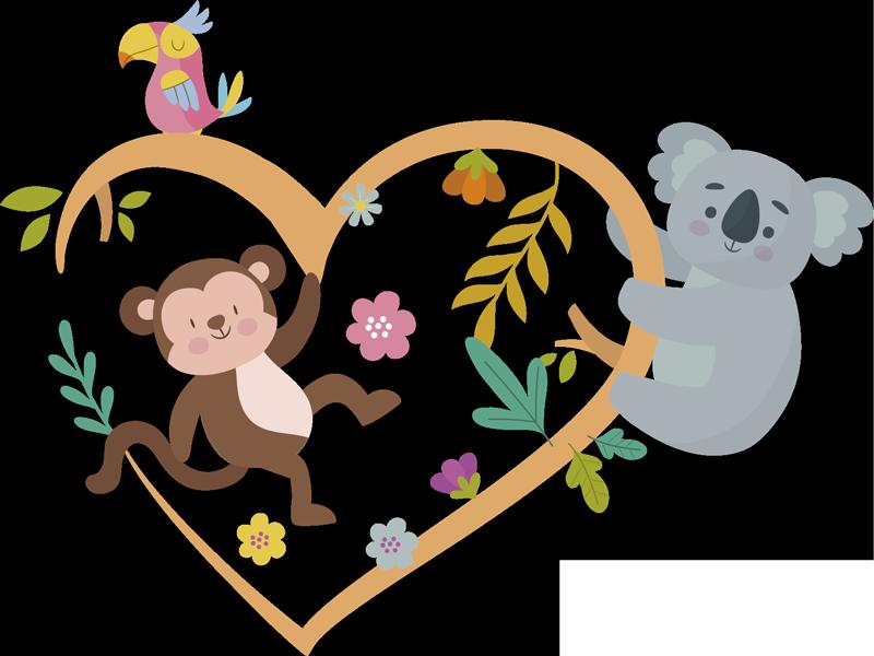 TenStickers. 春季考拉和猴子树枝动物墙贴. 购买这种易于粘贴的考拉和猴子在花的心形状上玩耍的儿童卧室墙贴纸。