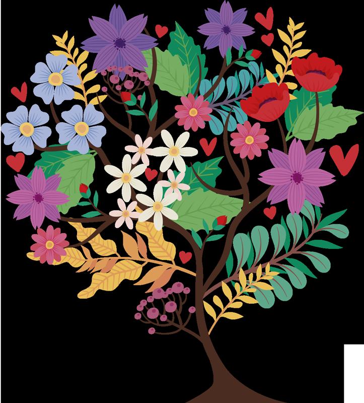 TenStickers. Naklejka scienna z drzewem wiosennym. Stwórz w swoim domu znakomitą atmosferę dzięki tej naklejce na ścianę z drzewem, która zawiera kwiatki, liście i płatki w różnych kolorach.