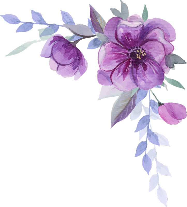 TenStickers. Water colour spring flower floral wall decal. Easy to apply bedroom wall decal created with a water colour floral ornament with a touch of purple and blue that you can apply on your wall.