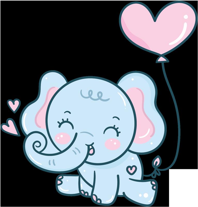 TENSTICKERS. 心の子供の寝室の壁のステッカーと象の赤ちゃん. 心の象でデザインされた装飾子供のウォールステッカー。デザインは非常に高品質のビニール製で、子供のスペースを美しくします。