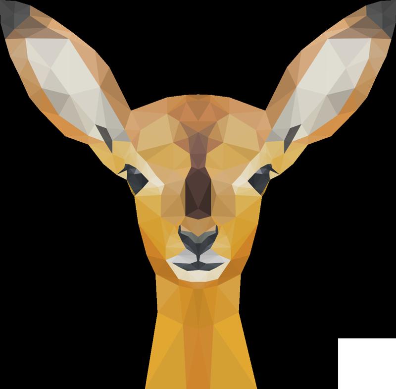 TENSTICKERS. 鹿の野生動物のステッカー. 鹿の装飾的な野生動物の壁ストライカーデザイン。デザインはガラスの幾何学スタイルで作成されます。非常に粘着性があり、簡単に塗布できます。