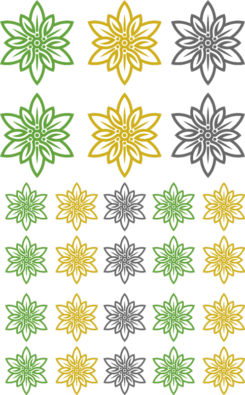 TenStickers. Edelweiss Set flower wall decal. Decorative Edelweiss flower set wall sticker designed in multicolored and sizes. It contains a set of different size and colours of flower .