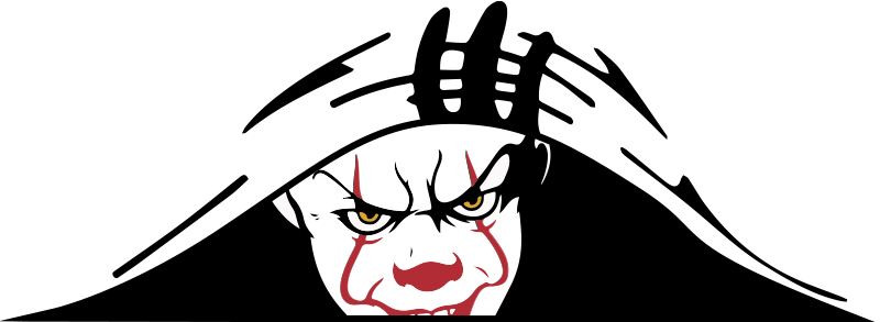 TenStickers. Clown watching Car Decal. Decorative car window decal design of a clown watching out. This a design with the feature of movie and video game character act.