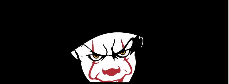 """TenStickers. Naklejka na samochód klaun z """"To"""". Naklejka samochodowa zaprojektowana z myślą o fanach kultowego filmu pod tytułemm """"To"""", przedstawiająca skrywającego się klauna."""