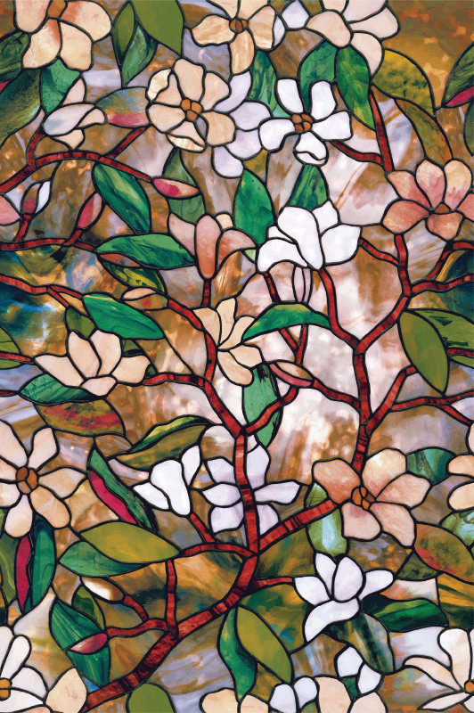 TenStickers. Stained glass  film window decal. Enjoy a beautiful window space with our window vinyl decal design of  glass stained flower in multi colour style. It is available in sizes.
