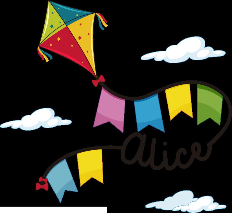 TenStickers. Zmeu și nori cu autocolant cu ilustrație de nume. Autocolant de perete cu nume personalizabil conceput cu zmei și cloud. Un design ideal pentru spațiul camerei pentru copii și puteți alege dimensiunea preferată.