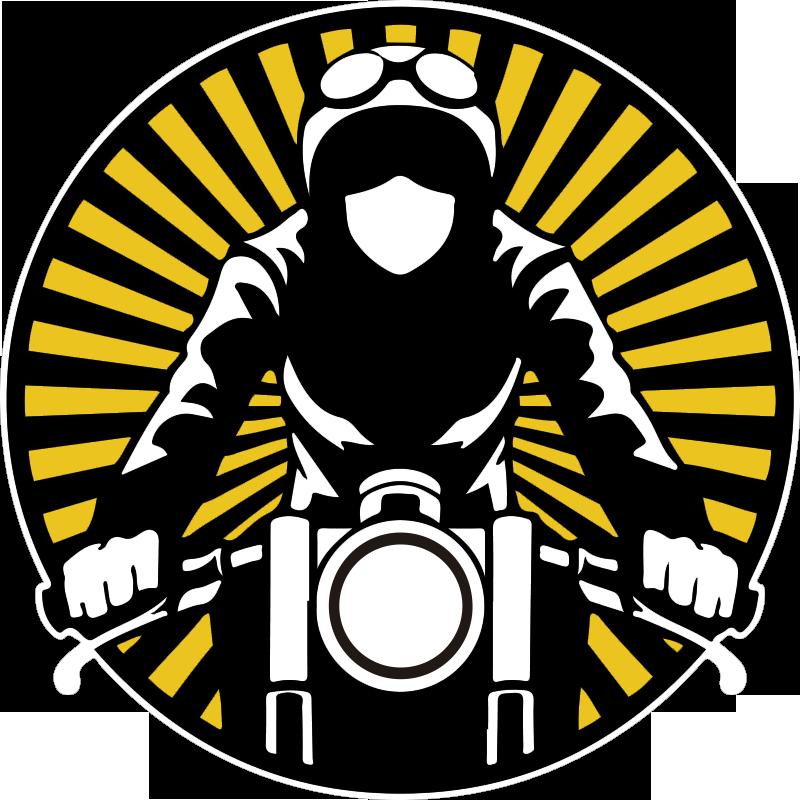 TENSTICKERS. バイクのビンテージステッカー. バイクに乗るオートバイのビンテージバイクデカールデザイン。すべての平面に理想的なカラフルなデザイン。