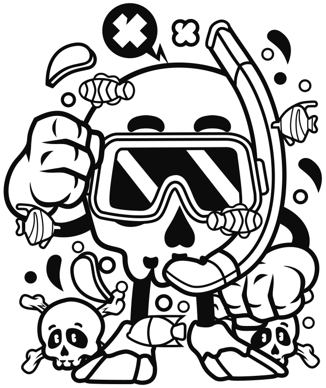 TenStickers. Skull Diving Sea  urban decal. Decorative urban wall sticker design created with skull driving sea. The design is easy to apply on any flat surface and you can chose the size .