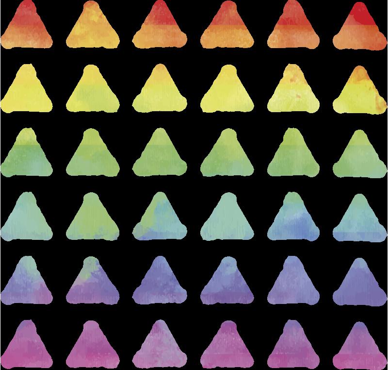 TenStickers. Autocolantes decorativos triângulos arco-íris. Vinil decorativo de formas geométricas de triângulos em várias cores formando o espectro do arco-íris.