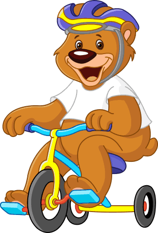 TenStickers. Cycle Bear Kids Wall Sticker. Kids Wall Stickers-Fun and playful illustration of a bear riding a tricycle. Cheerful design ideal for decorating areas for children.