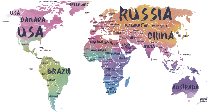 TenStickers. World map lettering  world map decal. Decorative world map decal with the names of most continent on it . An ideal design for any wall space and it is available n different sizes.