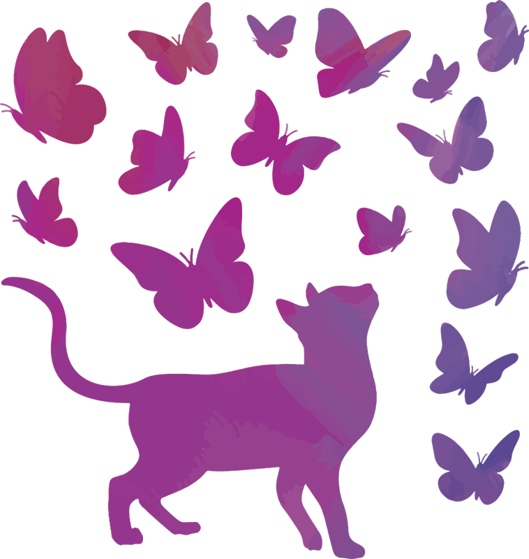 TenStickers. Cat with butterflies decal. Decorative wall sticker decoration idea design created with butterflies and cat on it.Beautiful and colour wall decal for any flat wall space at home.