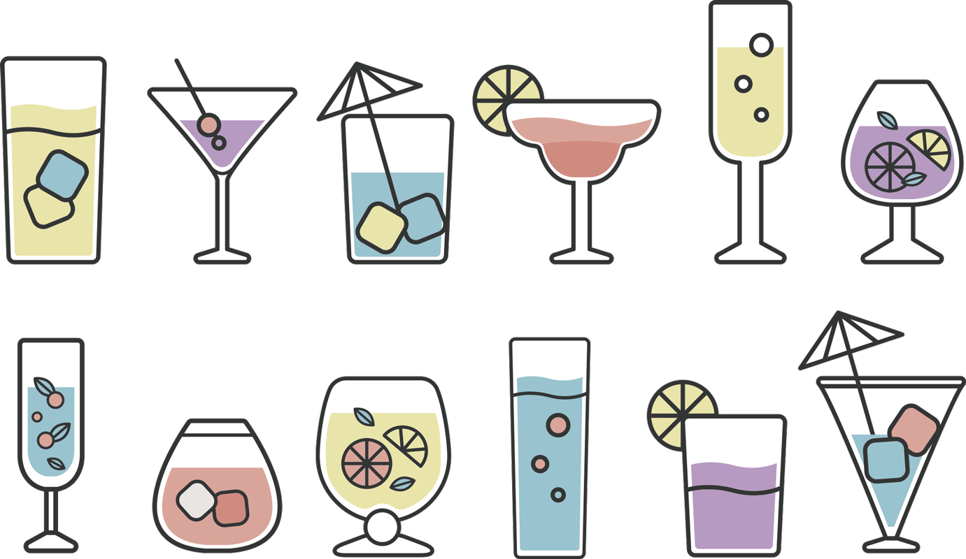 TenStickers. Cocktails drink wall sticker. Decorative kitchen wall decal created with different cocktails drinks that can be applied in any manner and position. Easy to apply adhesive vinyl.