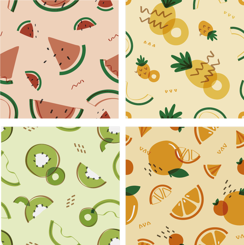 TenStickers. Fruit tiles kitchen wall sticker tile transfer. Kitchen home wall tile decal design created with multicolored fruits. Ideal for every flat surface . The application is easy and from the best vinyl.