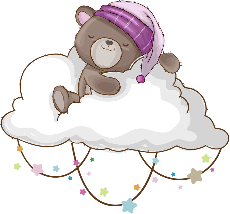 TenVinilo. Vinilo para niños  oso adorable en nube. Vinilo decorativo fácil de aplicar para niños creado con un osito adorable. El diseño está disponible en diferentes opciones de tamaño.