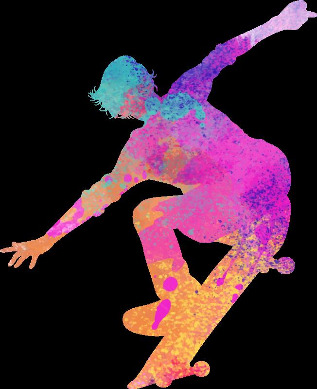 TENSTICKERS. シルエットスケーターシルエットウォールステッカー. 多色スタイルのシルエットでデザインされた装飾的なスケーターデカール。あなたが望むスペースに最適なサイズで選択できます。