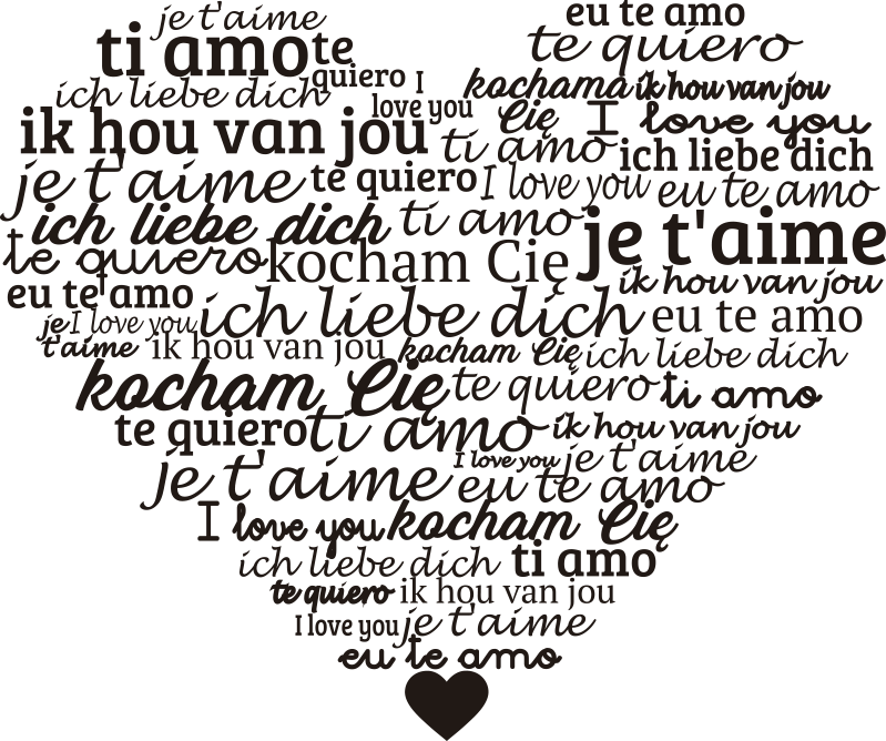 TenStickers. Languages in the heart love wall decal. Easy to apply decorative wall decal designed with'' i love you''text in multiple languages in a heart shape background. Available in different colour.