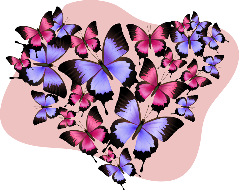 TenStickers. Butterflies in the heart sticker. Wall sticker design of butterfly in heart shape to beautify any space in the home. A multicolored design decorative for any flat surface.