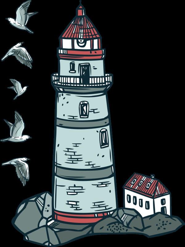 TenStickers. Leuchtturm Illustration Wandtattoo. Aufkleberatives nautisches leuchtturm-wandtattoo zur verschönerung jeder ebenen fläche ihrer wahl. Das design ist in größen erhältlich und einfach anzuwenden.