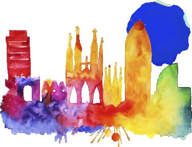 TenVinilo. Vinilo decorativo Barcelona de noche. Skyline de Barcelona con perspectiva desde Collserola, una urbe llena de vida y ambiente. De nuestra colección de vinilos Barcelona.