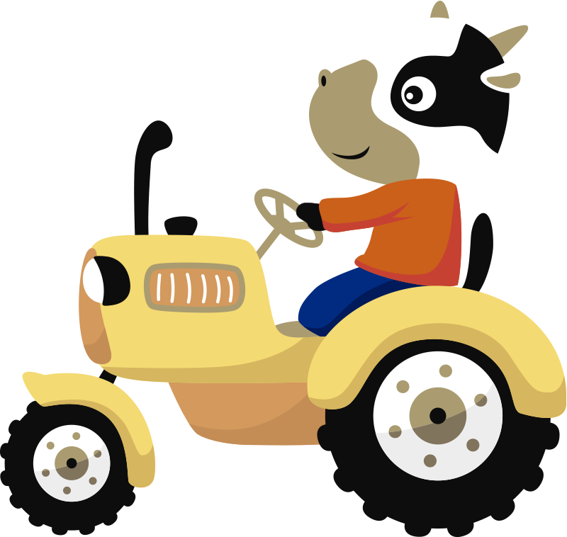 TenStickers. Tractor illustration wall art. Decorate any space for an infant or kid with this beautiful design of a tractor illustration sticker that has a cartoon character driving a tractor.