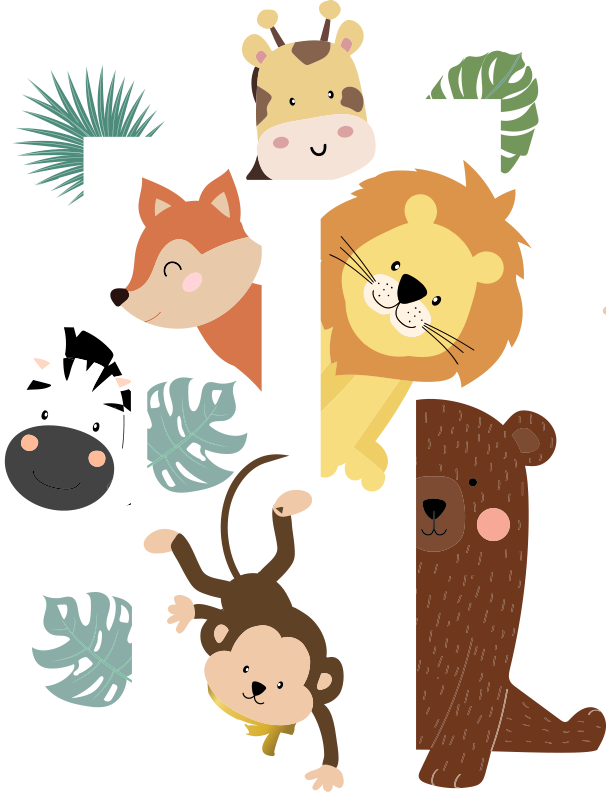 TenStickers. Animals at door glass sticker. Easy and decorative door sticker created with cartoon characters animals in lovely bright colours and ideal for the door space of infants and kids.