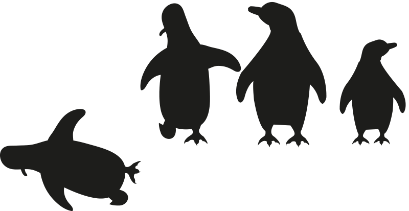 TenStickers. Vinil autocolante decorativo para portas Pinguim a cair. Um autocolante de vinil para porta projetado com pinguins a divertirem-se, com destaque para um que está a cair.