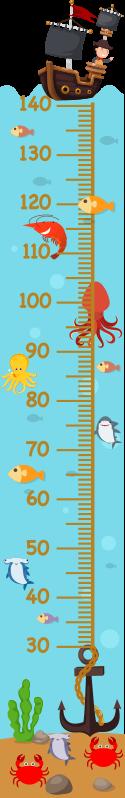 TenStickers. Oznaka višine grafikona podvodne višine. Nalepka za steno za višino za otroke z veliko podvodnimi funkcijami, kot so zvezdaste ribe, čoln in mornar in še več. Enostaven za uporabo.