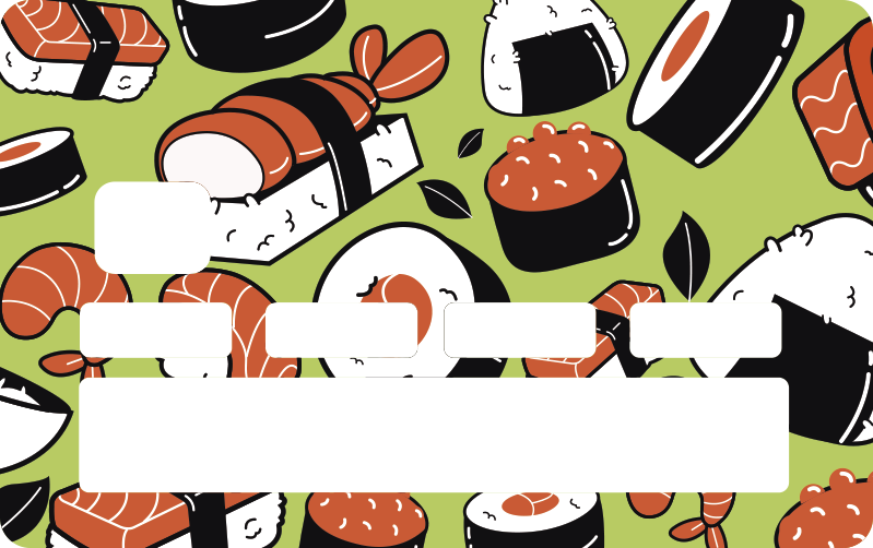 TenStickers. sushi pattern credit card decal. Decorative bank card vinyl sticker with the design of sushi on it. Very lovely design to steal the attention of people anywhere you use your card.