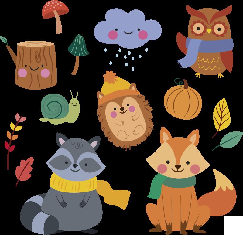 TENSTICKERS. 秋の花と動物の野生動物のステッカー. 秋のさまざまな動物がいる子供のための美しく装飾的な壁のステッカー。お好みのサイズで購入してください。