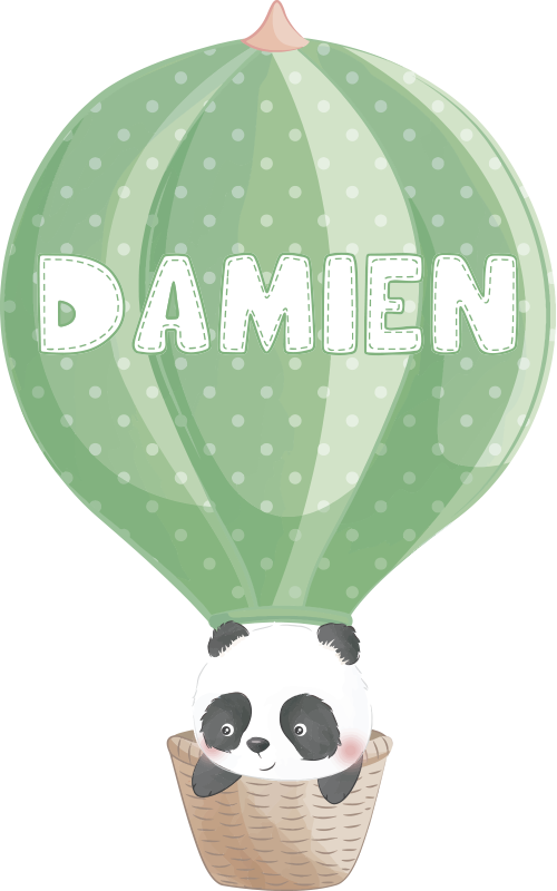 TenStickers. Baby boy personnalised panda illustration sticker. Decorative wall sticker with the deign of a panda on an air balloon which is personalisable with a name on it. Best vinyl adhesive decal.