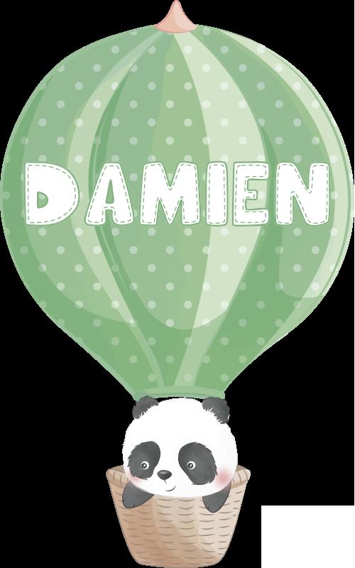 TenVinilo. Vinilo para bebés oso panda en globo con nombre. Hermoso vinilo decorativo con el diseño de un panda en un globo aerostático que se puede personalizar con un nombre. Fácil colocación.