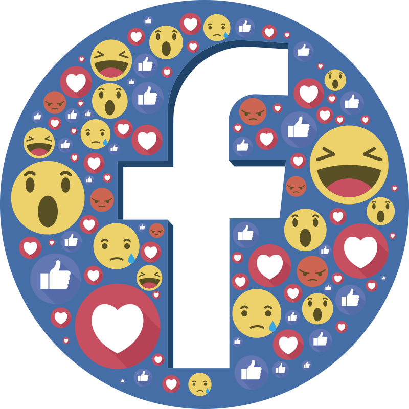 TenStickers. Facebook emoji logo window decal. Decorative window decal vinyl of a Facebook icon with reactions emojis on it. Easy to apply because it has high adhesive quality.