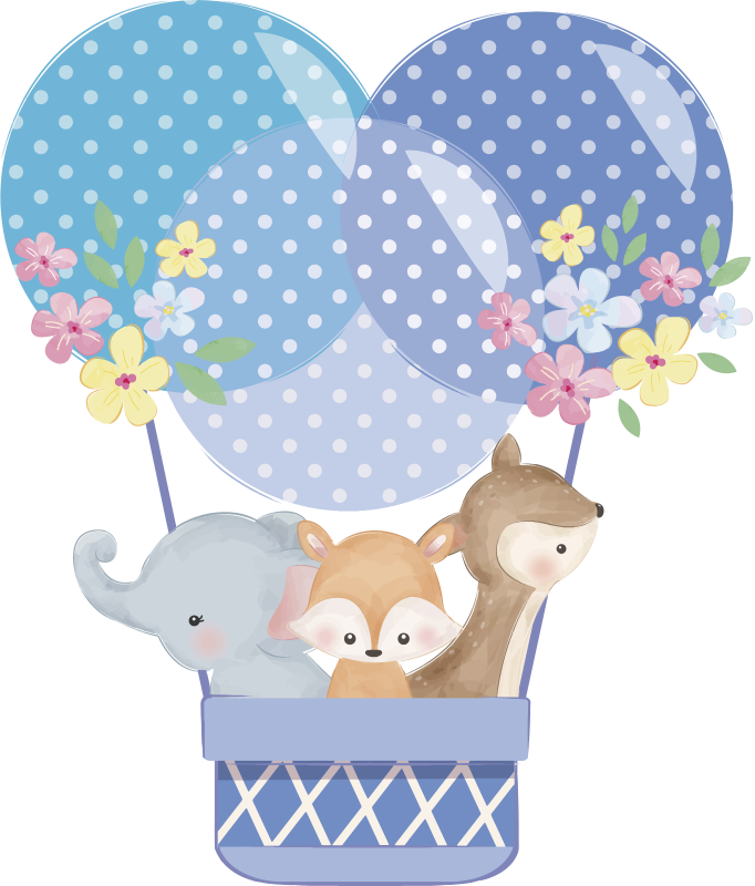 TenStickers. Watercolour animals hot air balloon illustration sticker. Decorative wall sticker for children with the design of animals in hot air balloon in watercolor with floral. Easy to apply on flat surfaces.