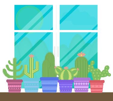 TENSTICKERS. 庭のリビングルームの壁装飾の装飾的な窓. あなたのリビングルーム、ベッドルーム、キッズルームのためのいくつかのサボテンでウィンドウのステッカーであなたの壁を飾る。あなたのニーズに合わせてサイズを調整できます。迅速な配達。