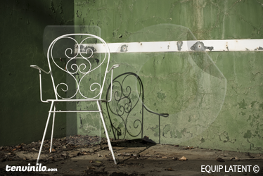 TenStickers. Chair Pediment Track Wall Mural. Photo Mural - Image of a wrought iron chair in a squash court. Latent Estudi Photography for your home or business.