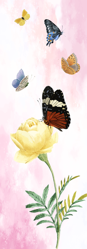 TenVinilo. Vinilo para nevera de mariposas y flor amarilla. Vinilo decorativo para nevera con diseño de mariposas y pétalos en un increíble color de fondo. Envío a domicilio.