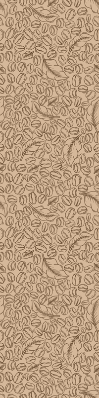 TenStickers. Coffee beans and leaf fridge wrap. High quality vinyl fridge decal with the design of beans and leaf in coffee colour. Designed to wrap the whole surface of the fridge in any size.