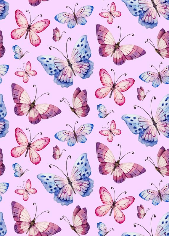 TENSTICKERS. ローズトーン蝶冷蔵庫ラップ. ローズトーンの背景にカラフルな蝶のデザインが施された冷蔵庫ドアデカールは、表面全体を覆います。任意のサイズに合わせてカスタマイズできます。